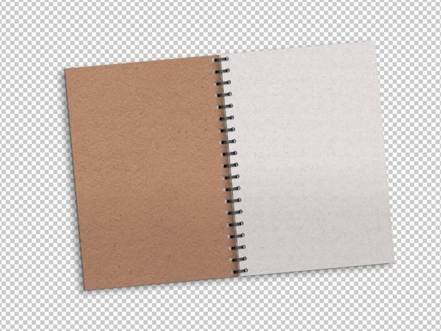 Isoliertes geöffnetes notizbuch