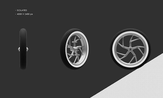 Isoliertes grand motorrad fahrrad grau chrom vorderrad felge und reifen
