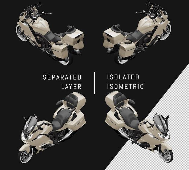 Isoliertes graues großes isometrisches motorrad-set