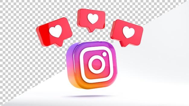 Isoliertes instagram-symbol mit likes auf weißem hintergrund beim 3d-rendering