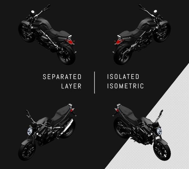 Isoliertes modernes schwarzes supersport-fahrrad isometrisches motorrad-set
