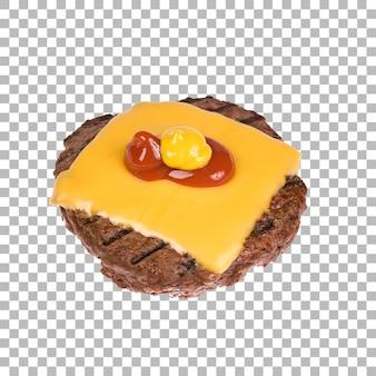 Isoliertes patty mit geschnittenem käse
