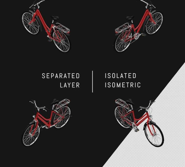 Isoliertes rotes generisches fahrrad isometrisches fahrradset