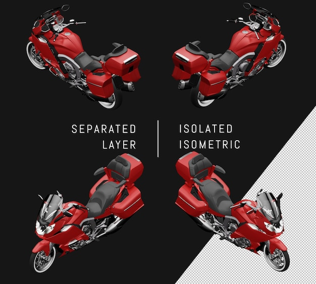 Isoliertes rotes großes isometrisches motorrad-set