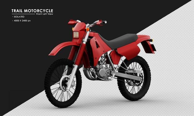 Isoliertes rotes hintermotorrad von der ansicht von vorne links