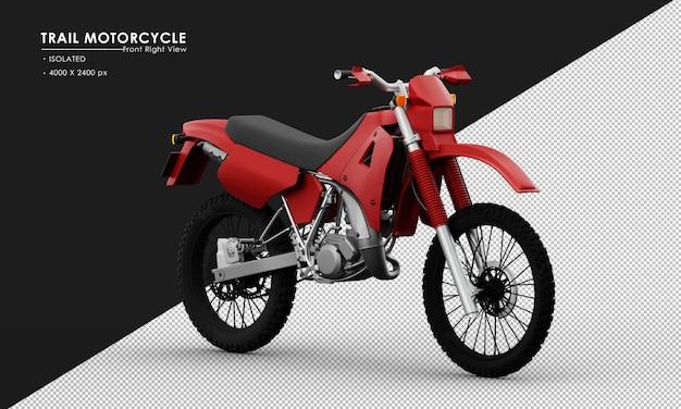 Isoliertes rotes hintermotorrad von der ansicht von vorne rechts