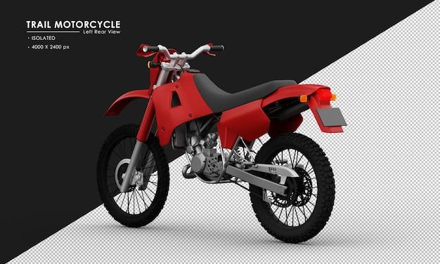 Isoliertes rotes hintermotorrad von der linken rückansicht