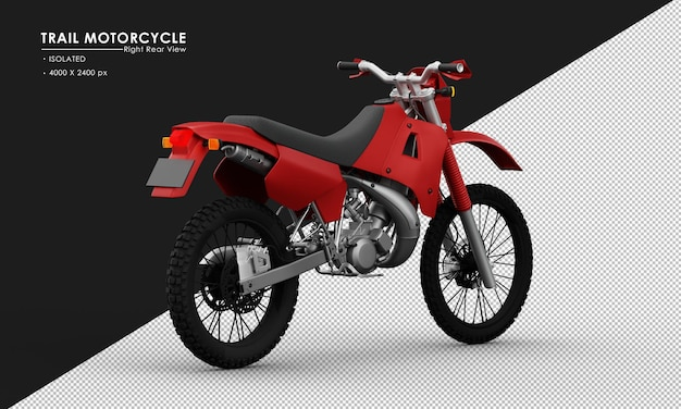 Isoliertes rotes hintermotorrad von der rechten rückansicht