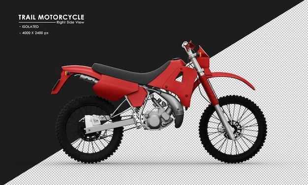 Isoliertes rotes hintermotorrad von der rechten seitenansicht