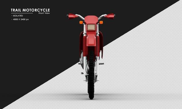 Isoliertes rotes hintermotorrad von der vorderansicht