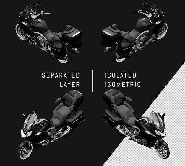 Isoliertes schwarzes großes isometrisches motorrad-set
