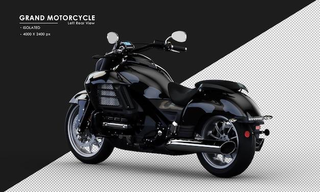 Isoliertes schwarzes großes motorrad von der linken rückansicht