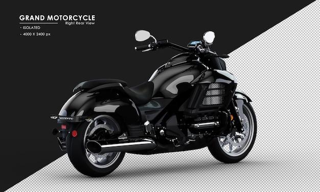 Isoliertes schwarzes großes motorrad von der rechten rückansicht