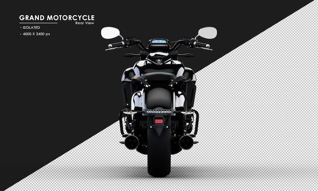 Isoliertes schwarzes großes motorrad von der rückansicht