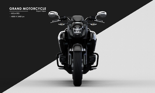 Isoliertes schwarzes großes motorrad von der vorderansicht