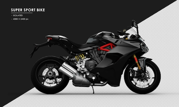 Isoliertes schwarzes super sport bike von der rechten seitenansicht