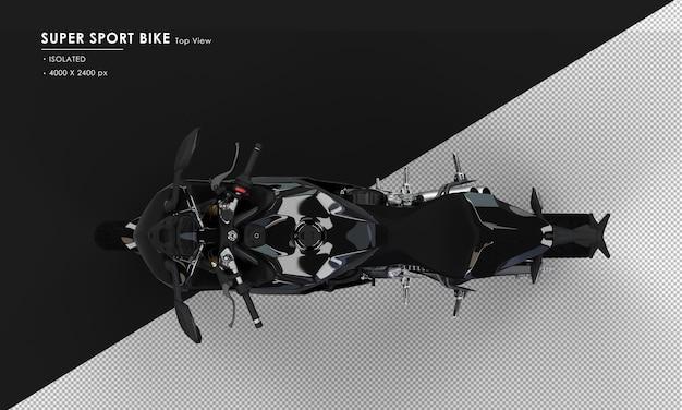 Isoliertes tiefschwarzes supersportrad von oben