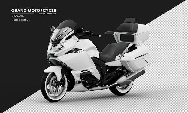 Isoliertes weißes großes motorrad von der ansicht von vorne links