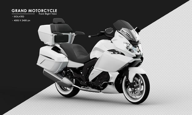 Isoliertes weißes großes motorrad von der ansicht von vorne rechts