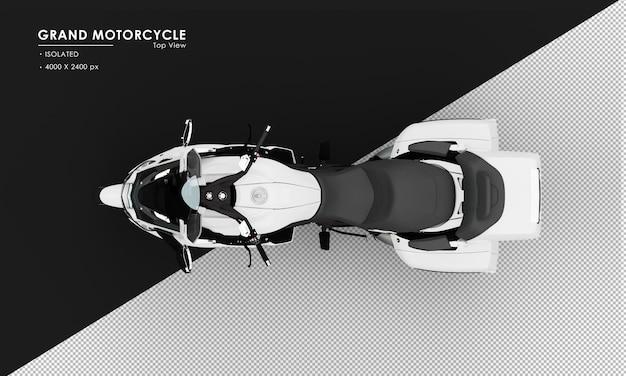 Isoliertes weißes großes motorrad von der draufsicht