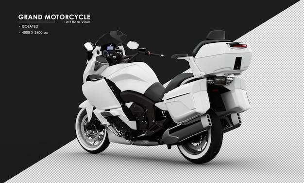 Isoliertes weißes großes motorrad von der linken rückansicht