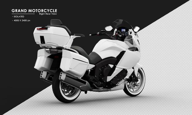 Isoliertes weißes großes motorrad von der rechten rückansicht