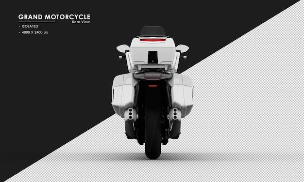 Isoliertes weißes großes motorrad von der rückansicht