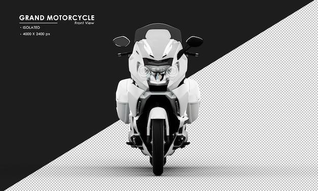 Isoliertes weißes großes motorrad von der vorderansicht