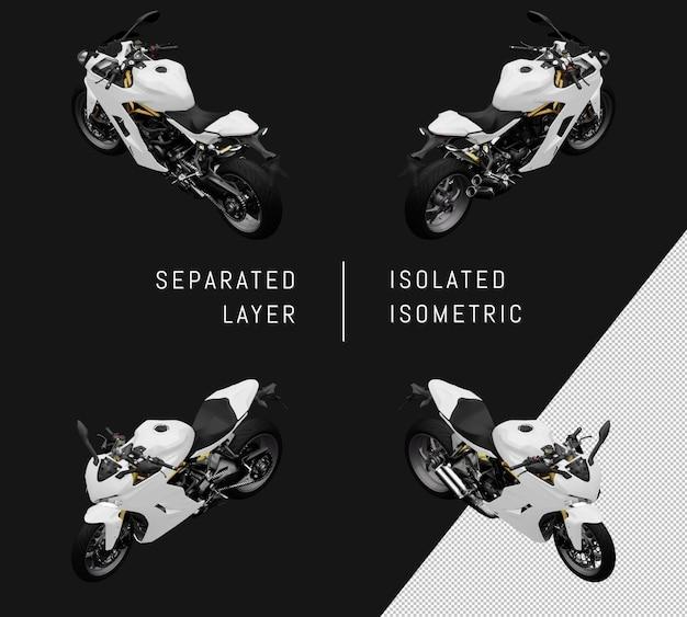Isoliertes weißes supersport-fahrrad isometrisches motorrad-set