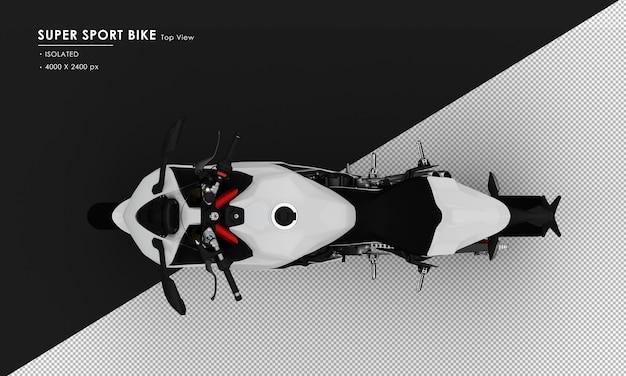 Isoliertes weißes supersport-fahrrad von der draufsicht