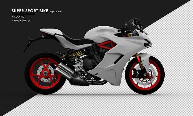 Isoliertes weißes supersport-fahrrad von der rechten seitenansicht