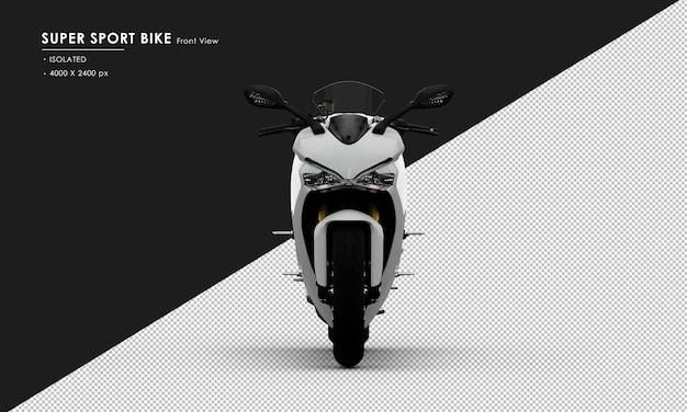 Isoliertes weißes supersport-fahrrad von der vorderansicht
