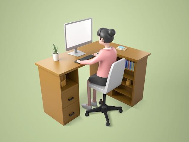 Isomatische, junge frau, die am desktop-computer auf dem tisch arbeitet, zeichentrickfigur, 3d-darstellung
