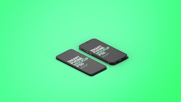 Isometrische ansicht unterschiedliches smartphone app preview mockup