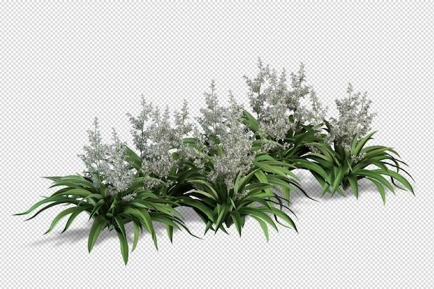 Isometrische blumen in vase 3d rendering isoliert