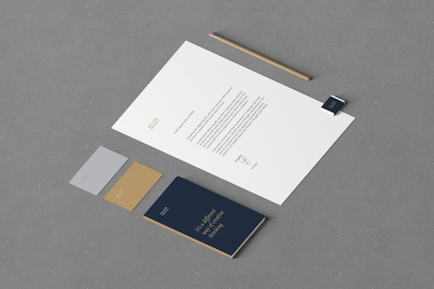 Isometrische branding- und schreibwarenmodelle