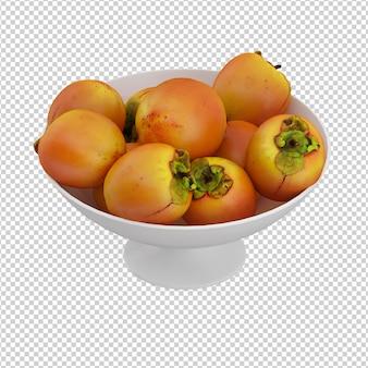 Isometrische früchte auf platte