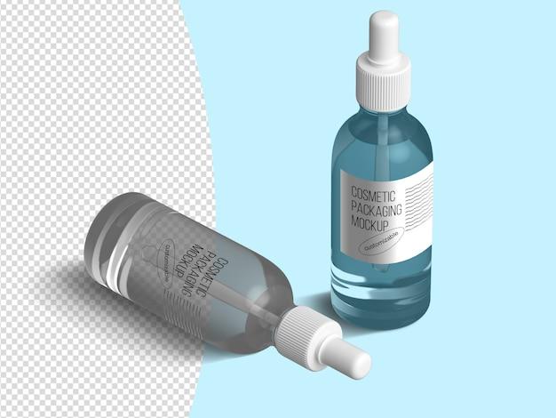 Isometrische kosmetische tropfflasche modellvorlage