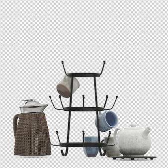 Isometrische küche eingestellt