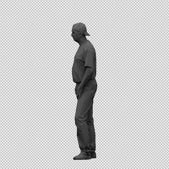 Isometrische männliche 3d übertragen