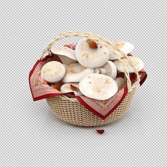 Isometrische pilze in einem korb