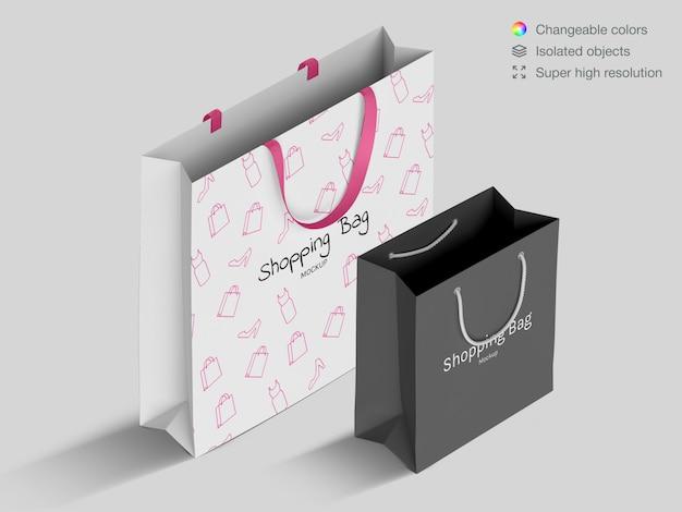 Isometrische realistische einkaufspapiertüten-modellschablone