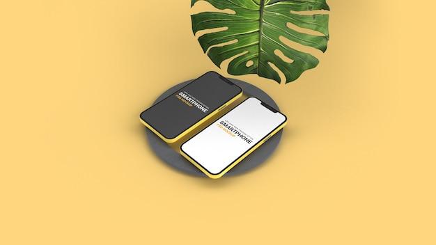 Isometrische smartphones mockup isoliert