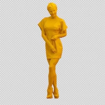 Isometrische weibliche 3d übertragen