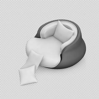 Isometrische wiedergabe des lehnsessels 3d