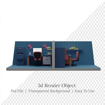 Isometrischer büroraum der 3d-illustration