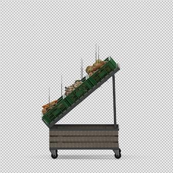 Isometrischer gemüsestand-markt 3d übertragen