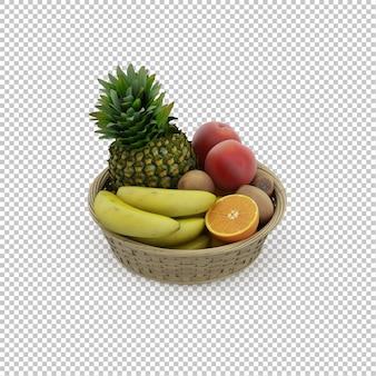 Isometrischer korb mit früchten