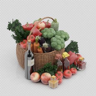 Isometrischer korb mit gemüse und früchten im weidenkorb