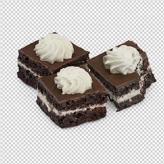 Isometrischer kuchen auf platte